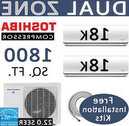 3 TON Tri Zone Ductless Mini Split Air Conditioner, Heater: