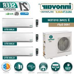 30000 BTU Tri Zone Ductless Mini Split Air Conditioner Heat