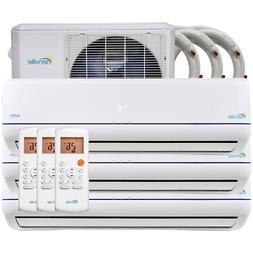 36000 BTU Tri Zone Ductless Mini Split Air Conditioner and H