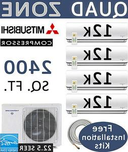 48,000 BTU 4 Zone Ductless Mini Split Air Conditioner Heat P