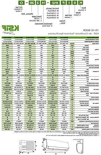 Klimaire KSIF012-H115-S BTU 16 Seer Mini-Split 13'. Installation Air Heat System, 12,000